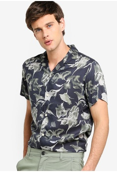 e13a4297037 Selected Homme multi and navy Oliver-Vis Crazy Print Short Sleeve Shirt  E8D81AABFBC90FGS 1