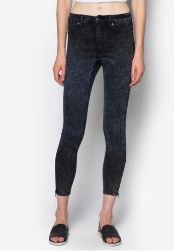 褪色zalora taiwan 時尚購物網鞋子七分窄管牛仔褲, 服飾, 牛仔褲