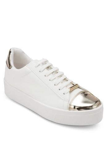 金屬鞋頭厚底繫帶休閒鞋,esprit 香港 女鞋, 鞋
