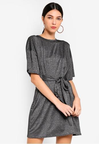 c75e7e040202 Shop MISSGUIDED Tie Waist Tshirt Dress Ss Lack Online on ZALORA ...