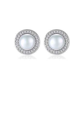 Glamorousky white 925 Sterling Silver Fashion and Elegant Geometric Round White Freshwater Pearl Earrings with Cubic Zirconia 9EB6AAC7949036GS_1