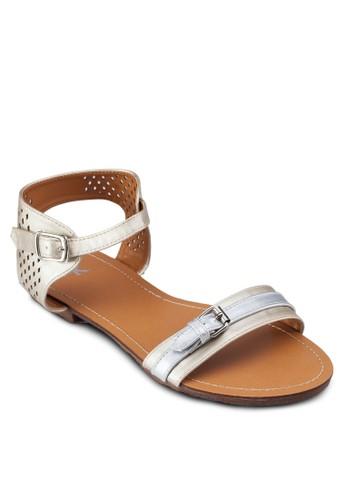 沖孔踝帶平底涼zalora退貨鞋, 女鞋, 鞋