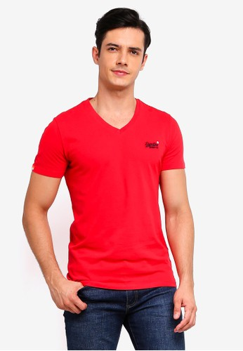 Superdry red Orange Label Vintage Embroidered Vee Tee E0A48AA2E71532GS_1
