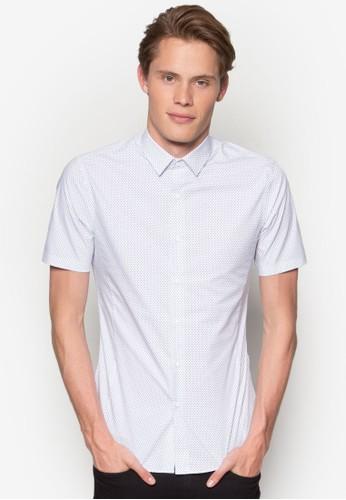 彈性印花短袖襯esprit china衫, 服飾, 襯衫