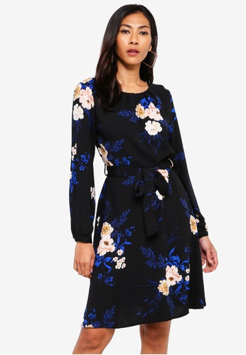 9f7fd3d9a194 Dorothy Perkins black Black Floral Print Pleated Fit And Flare Dress  A71A1AA6B0F30AGS 1