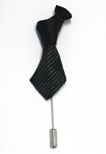 Splice Cufflinks Black & Grey Stripes Little Tie Lapel Pin SP744AC90LAVSG_1