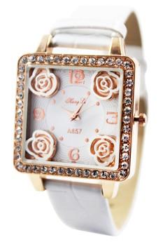 Hong Li Aurora Leather Stoned Watch A857