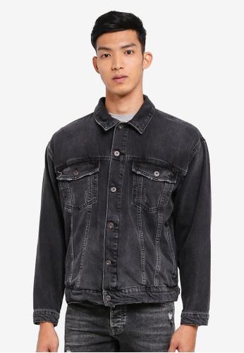 Topman black Black Oversized Denim Jacket 1248EAA7670559GS_1