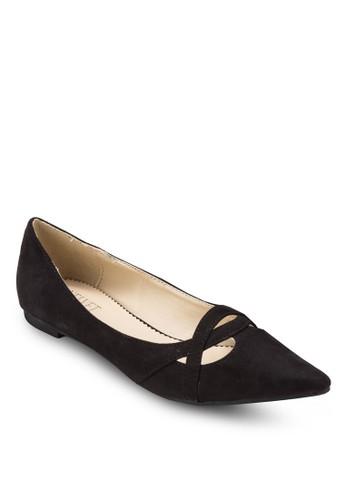 交叉帶尖頭德比平底鞋、 女鞋、 鞋Velvet交叉帶尖頭德比平底鞋最新折價