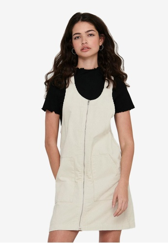 JACQUELINE DE YONG beige Shiraz Corduroy Zip Dress 18DD2AA4815B94GS_1