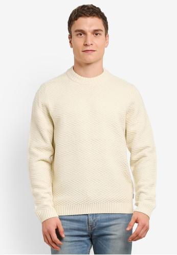 Burton Menswear London beige Ecru Textured Knitted Jumper BU964AA0S9QIMY_1