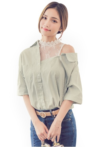 Yoco green Lace Stripe Off Shoulder Blouse CAEB6AA457F5DDGS_1