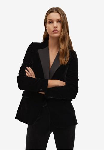 Mango black Contrast Flap Velvet Blazer 23A86AACCDC872GS_1