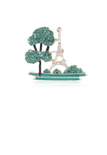 Glamorousky green Fashion Creative Plated Gold Eiffel Tower Pine Brooch with Cubic Zirconia 54EEAACB1B20EEGS_1