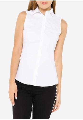 Banana Republic white Riley Tailored-Fit Sleeveless Shirt 4DF65AAA06E42BGS_1