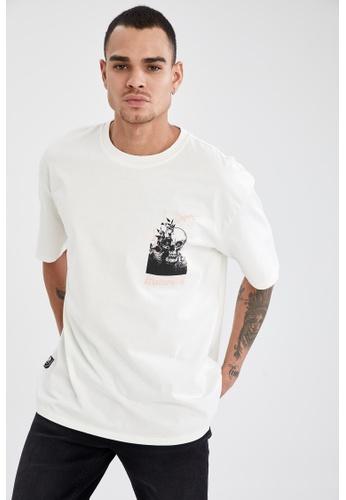 DeFacto beige Short Sleeve Round Neck Cotton Printed T-Shirt F3701AA58954D6GS_1