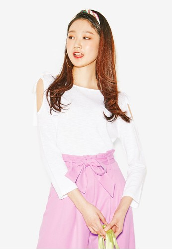 NAIN white Cold Shoulder Bow Tie Top 47B70AACB43B2DGS_1