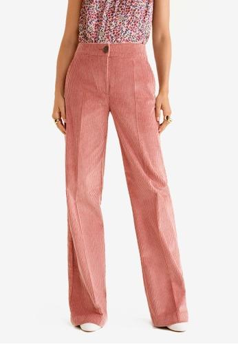 Mango pink Corduroy Straight Trousers 1345FAA66435C1GS_1