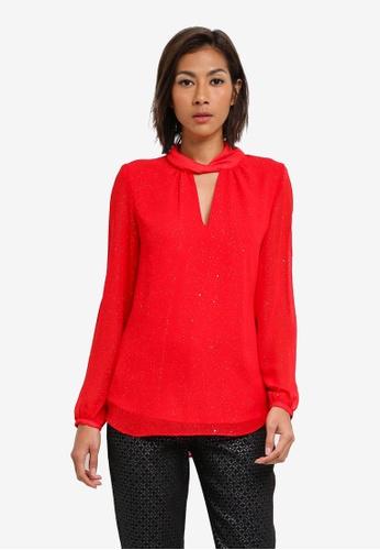 Wallis red Red Glitter Long Sleeve Top WA800AA0SACFMY_1