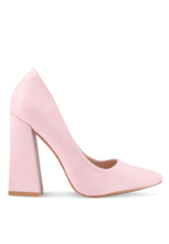 Velvet pink Pointed Chunky Heel Pumps 13F9BSH4ACE7D0GS_1