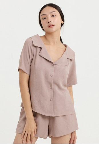 Cloth Inc pink Wide Collar Shirt in Rose Brown D7160AA9F38833GS_1