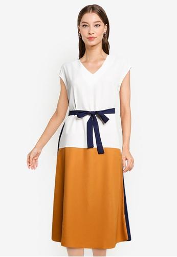 ZALORA WORK white and yellow Colour Block Midi Dress 04174AACED7DB0GS_1
