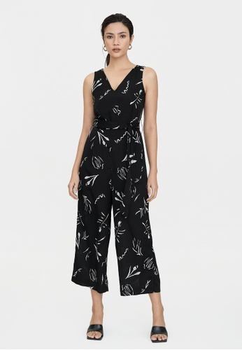 Pomelo black Abstract Scribble Print Jumpsuit - Black 22158AAC871667GS_1