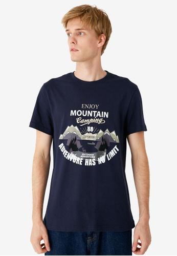 KOTON blue Graphic T-Shirt D6947AA634DD62GS_1