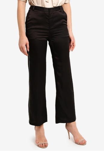 Hopeshow black Piping Detai Loose Fit Trousers 80E87AA3755C27GS_1