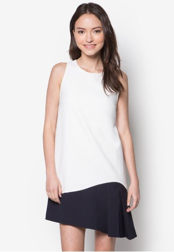 色塊褶飾寬擺連身裙, zalora taiwan 時尚購物網服飾, 洋裝