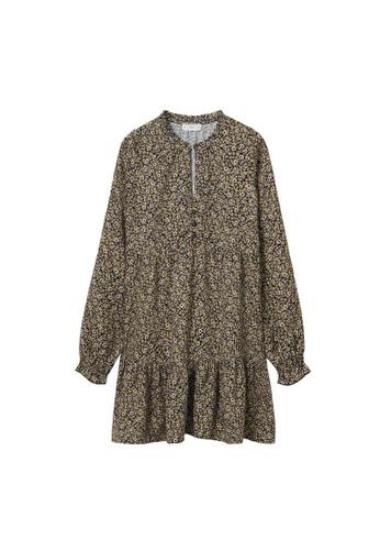 MANGO KIDS black Teens Floral Print Dress F08B9KAADB792EGS_1