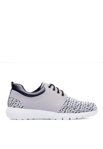 MIT。輕量。除臭鞋墊。彈esprit服飾力針織布。太空運動鞋-09380-灰白, 鞋, 休閒鞋