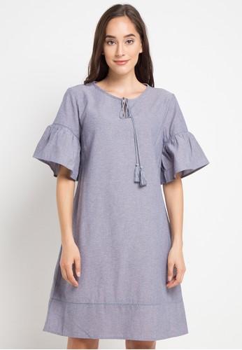 SIMPLICITY blue Bell Sleeve Mini Dress 9BADEAA70CD40CGS_1