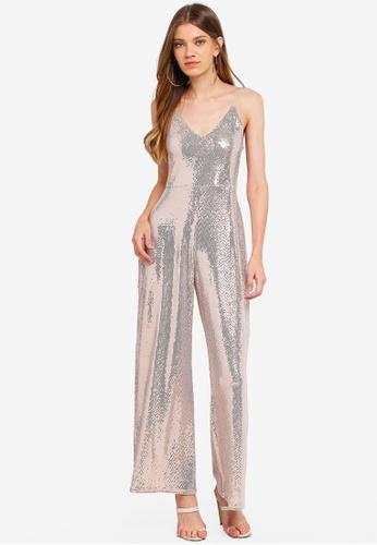 b8a5cd49cc1f 購買流行Miss Selfridge Champagne Sequin Culotte Jumpsuit - ZALORA 台灣