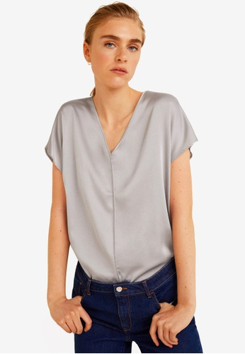 Mango brown Satin Panel T-Shirt 652B6AAD5802AEGS_1