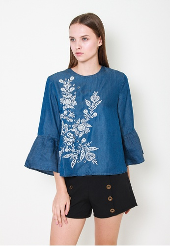 Leline Style blue Camilla Embroidery Blouse C04ACAADE56F19GS_1