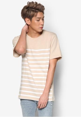 條紋拼接短袖TEE, 服飾,esprit taiwan T恤