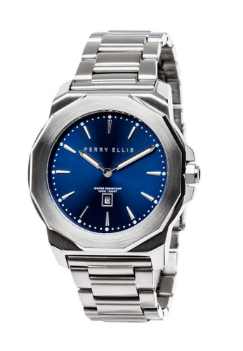 PERRY ELLIS blue and silver Perry Ellis Decagon Unisex 42mm Quartz Stainless Steel Watch 08002-02 4B465ACBE7EF3FGS_1