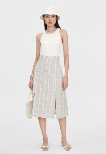 Pomelo beige Double Slit Checkered Skirt - Beige 3B38CAA49D5E3DGS_1