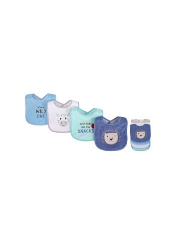 Little Kooma white and blue Baby Boy Knit Terry With Peva Bib 4pc Wild One 01788 6E646KC3C8B5B0GS_1