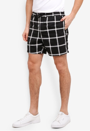 Topman black and white and multi Black Windowpane Shorts 05114AA0549D38GS_1