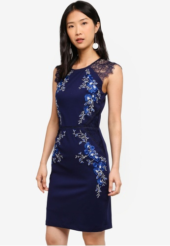 Megane navy Red Romance Liealia Embroidery Dress AAB09AA152FC66GS_1