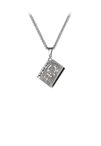 Glamorousky silver Classic Vintage Clockable Bible Pendant with 316L Stainless Steel Necklace AAFABAC126FC6DGS_1