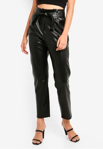 73337002035d7 Buy Miss Selfridge Black PU Paperbag Trousers Online on ZALORA Singapore
