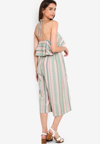 Glamorous 綠色 Halter 條紋連身褲 133E2AAE4FD516GS_1