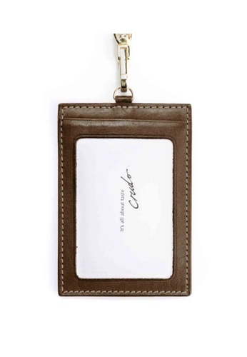 Crudo Leather Craft brown Senz'altro Leather Badge Holder - Classic Brown 5DAF8ACADC20ADGS_1