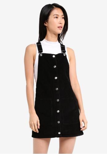 TOPSHOP black Moto Cord Button Through Pinafore Dress TO412AA0SZ6DMY_1