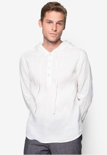 ZALORA white NT - Long Sleeves Linen Shirt with Hood ZA919AA34TFTSG_1