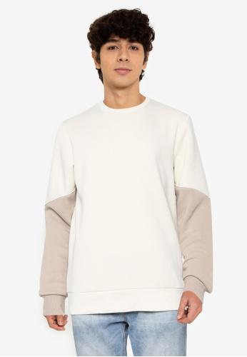 Jack & Jones beige Horizon Crew Neck Sweatshirt 4321BAA51A1095GS_1
