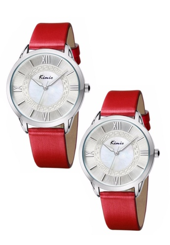 Eyki red Bundle 2 Units Eyki Kimio KW528M Silver Ladies Red Leather Watch EY078AC0RR9SMY_1